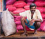 Portrait of a worker at Dambulla vegetable market, Dambulla, Central Province, Sri Lanka, Asia Stock Photo - Premium Rights