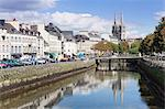 Saint Corentin Cathedral reflecting in the River Odet, Quimper, Finistere, Brittany, France, Europe