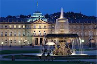 Neues Schloss castle and fountain at Schlossplatz Square, Stuttgart, Baden Wurttemberg, Germany, Europe Stock Photo - Premium Rights-Managednull, Code: 841-07204780
