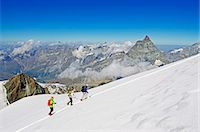 Climbers on Breithorn mountain, with the Matterhorn in the background, Zermatt, Valais, Swiss Alps, Switzerland, Europe Stock Photo - Premium Rights-Managednull, Code: 841-07205221