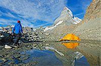 extreme terrain - Camping at a lake near The Matterhorn, 4478m, Zermatt, Valais, Swiss Alps, Switzerland, Europe Stock Photo - Premium Rights-Managednull, Code: 841-07205226
