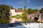 La Laignes river flowing through the village of Les Riceys, Aube, Champagne-Ardennes, France, Europe