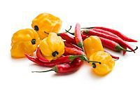 paprika - red chili peppers and yellow habanero on white background Stock Photo - Royalty-Freenull, Code: 400-07208896