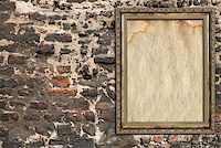 wooden frame over ruined brick wall Stock Photo - Royalty-Freenull, Code: 400-07210802