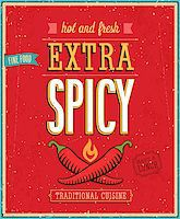 Vintage Extra Spicy Poster. Vector illustration. Stock Photo - Royalty-Freenull, Code: 400-07212690