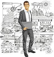 Vector business man with laptop in his hands. All layers well organized and easy to edit Stock Photo - Royalty-Freenull, Code: 400-07213753