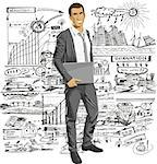 Vector business man with laptop in his hands. All layers well organized and easy to edit Stock Photo - Royalty-Free, Artist: leedsn, Code: 400-07213753