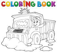snow plow truck - Coloring book snow plough - eps10 vector illustration. Stock Photo - Royalty-Freenull, Code: 400-07215734