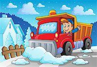 snow plow truck - Snow plough theme image 2 - eps10 vector illustration. Stock Photo - Royalty-Freenull, Code: 400-07215754