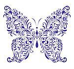 Vector illustration of abstract floral butterfly isolated on white background Stock Photo - Royalty-Free, Artist: kiyanochka, Code: 400-07215805