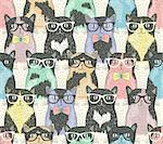 Seamless pattern with hipster cute cats for children Stock Photo - Royalty-Free, Artist: lapesnape, Code: 400-07215847