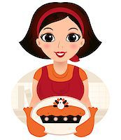Vintage cooking Woman. Vector Illustration Stock Photo - Royalty-Free, Artist: lordalea, Code: 400-07216167