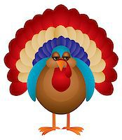 Colorful Turkey Cute Cartoon For Thanksgiving Isolated on White Background Illustration Stock Photo - Royalty-Freenull, Code: 400-07216525