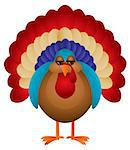 Colorful Turkey Cute Cartoon For Thanksgiving Isolated on White Background Illustration Stock Photo - Royalty-Free, Artist: jpldesigns, Code: 400-07216525