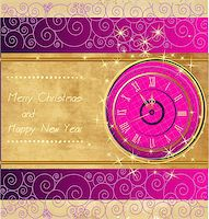 Happy New Year and Merry Christmas vintage background with clock Stock Photo - Royalty-Freenull, Code: 400-07217165