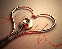 Stethoscope in shape of heart on a graph of the patient's heartbeat. Stock Photo - Royalty-Freenull, Code: 400-07218229