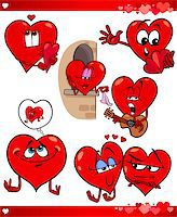 Cartoon Illustration of Cute Valentines Day and Love Themes Collection Set with Funny Hearts Stock Photo - Royalty-Free, Artist: izakowski, Code: 400-07219597