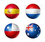 3D soccer balls with group B teams flags, Football world cup Brazil 2014. isolated on white Stock Photo - Royalty-Free, Artist: daboost, Code: 400-07222067