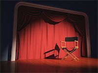 Director's chair on the stage illuminated by floodlights. Stock Photo - Royalty-Freenull, Code: 400-07223598