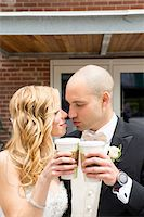 special moment - Close-up of Bride and Groom toasting eatch other with cups of coffee outdoors on Wedding Day, Canada Stock Photo - Premium Rights-Managednull, Code: 700-07232339