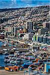 Overview of harbor and port, Valparaiso, Chile