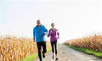 fitness   mature woman - Couple Jogging Outdoors, Baden-Wurttemberg, Germany Stock Photo - Premium Royalty-Freenull, Code: 600-07236610
