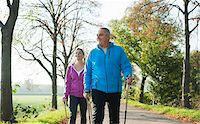 Couple Nordic Walking Outdoors, Mannheim, Baden-Wurttemberg, Germany Stock Photo - Premium Royalty-Freenull, Code: 600-07237877