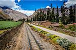 Train rails next to rural homes and farmland on scenic journey through the Sacred Valley of the Incas in the Andes mountains, Peru Stock Photo - Premium Rights-Managed, Artist: R. Ian Lloyd, Code: 700-07238027