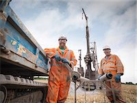 Portrait of drilling rig workers in hard hats and workwear Stock Photo - Premium Royalty-Freenull, Code: 649-07239191
