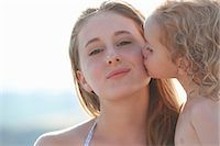 Portrait of young girl kissing older sister Stock Photo - Premium Royalty-Freenull, Code: 649-07239591
