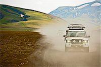 SUV driving through dusty landscape on the Icelandic highlands, Domadalur, Fjallabak, Iceland Stock Photo - Premium Royalty-Freenull, Code: 649-07239656