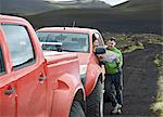 Couple reading map by customised SUV, Hekla, Fjallabak, Iceland Stock Photo - Premium Royalty-Free, Artist: Cultura RM, Code: 649-07239681