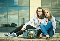 Two young women sitting together Stock Photo - Premium Royalty-Freenull, Code: 649-07239887