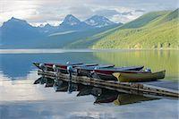 Moored boats, Lake McDonald, Glacier National Park, Montana, USA Stock Photo - Premium Royalty-Freenull, Code: 614-07239921