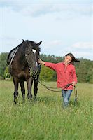 Girl standing with an Arabian Haflinger on a meadow Stock Photo - Premium Rights-Managednull, Code: 853-07241827