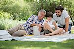Multi-generation men with cell phone on blanket in grass Stock Photo - Premium Royalty-Free, Artist: Mick Ritzel, Code: 6113-07242103