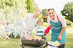 Multi-generation men grilling meat and corn at barbecue in backyard Stock Photo - Premium Royalty-Free, Artist: Albert Normandin, Code: 6113-07242370