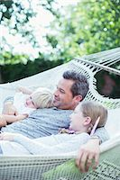 sister - Father and children relaxing in hammock Stock Photo - Premium Royalty-Freenull, Code: 6113-07242943
