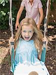 Father pushing daughter in swing Stock Photo - Premium Royalty-Free, Artist: Cultura RM, Code: 6113-07242955