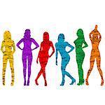 Grunge naked women silhouettes
