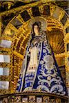 Close-up of altar with statue of Virgin Mary at Cathedral of Santo Domingo, Cusco, Peru