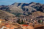 Scenic view of mountains and rooftops of homes, Cusco, Peru
