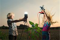 preteen long hair - Brother and sister generating light from wind power, Zeeland, Netherlands Stock Photo - Premium Royalty-Freenull, Code: 649-07280796