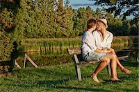 Romantic young couple on park bench, Gavle, Sweden Stock Photo - Premium Royalty-Freenull, Code: 649-07280967