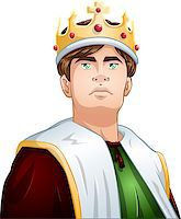 A vector illustration of a young king wearing a crown and cape. Stock Photo - Royalty-Free, Artist: LironPeer, Code: 400-07297197