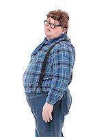 Overweight obese country yokel, on white background Stock Photo - Royalty-Freenull, Code: 400-07301601