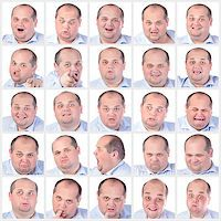 Collage portrait fat man with difference emotions, on white background Stock Photo - Royalty-Freenull, Code: 400-07305388