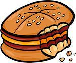 Cartoon Illustration of Bitten Cheeseburger or Hamburger Clip Art
