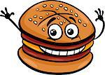 Cartoon Illustration of Cheeseburger or Hamburger Fast Food Character Clip Art