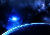 Space flare. A beautiful space scene with planets and nebula Stock Photo - Royalty-Freenull, Code: 400-07309218